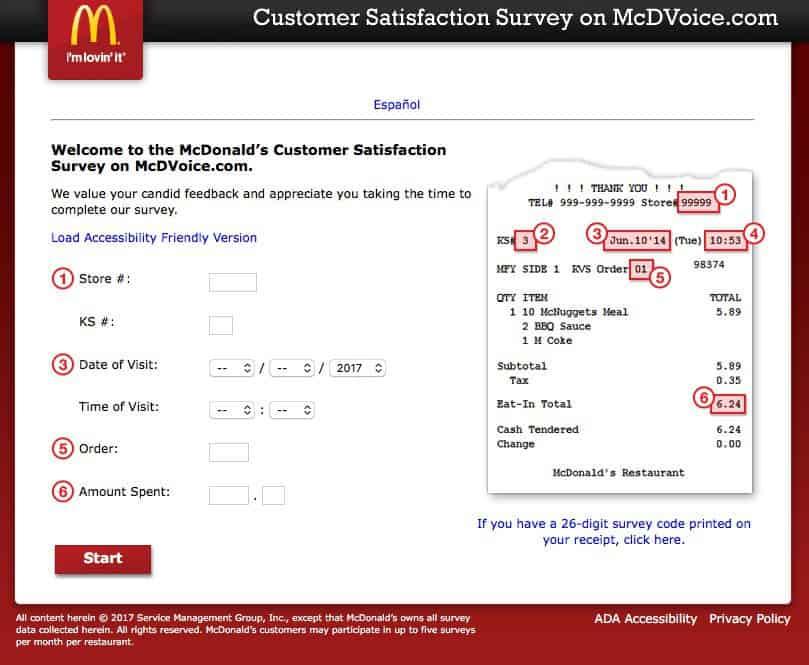 McDonald's customer feedback service