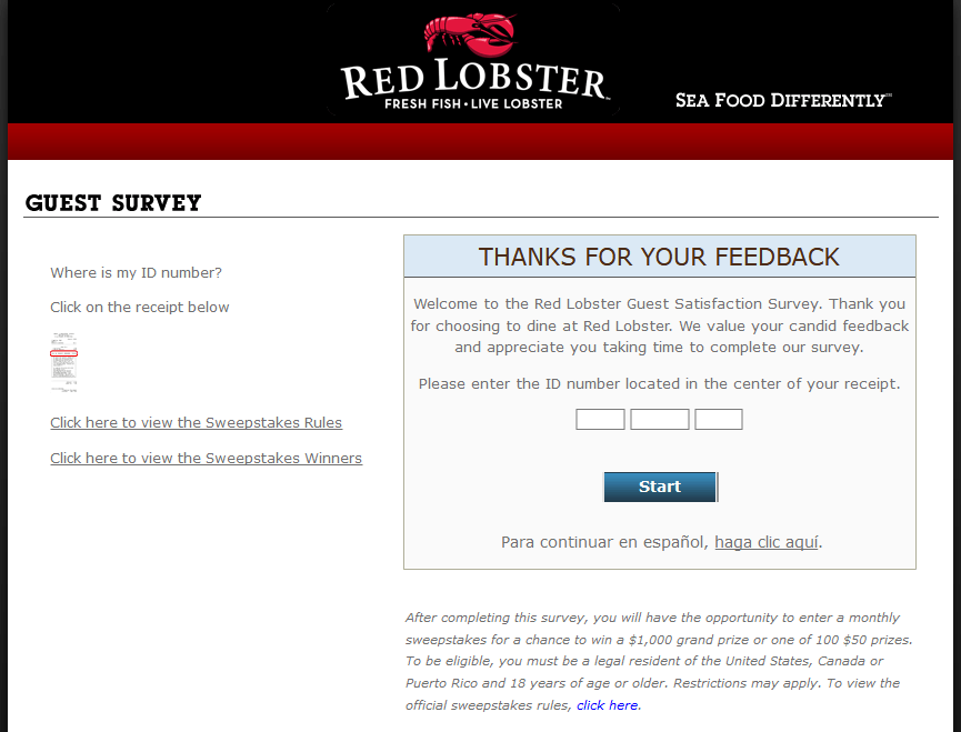 Now RedLobster Customer can get a chance to win $1,000 gift card or coupon by completing customer feedback survey. The first Red Lobster outlet was opened in 1968.