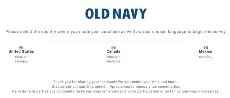 www.feedback4OldNavy.com - Win $10 off Coupon Old Navy® Survey