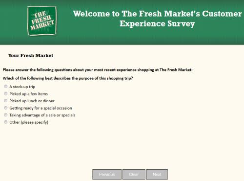 fresh market customer survey