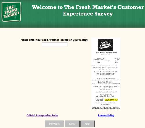 fresh market feedback survey
