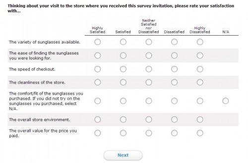 Sunglass Hut Survey