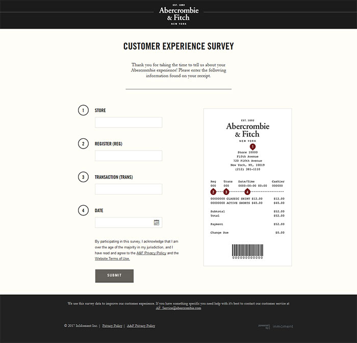 Steps for Completing the Abercrombie and Fitch Customer Experience Survey