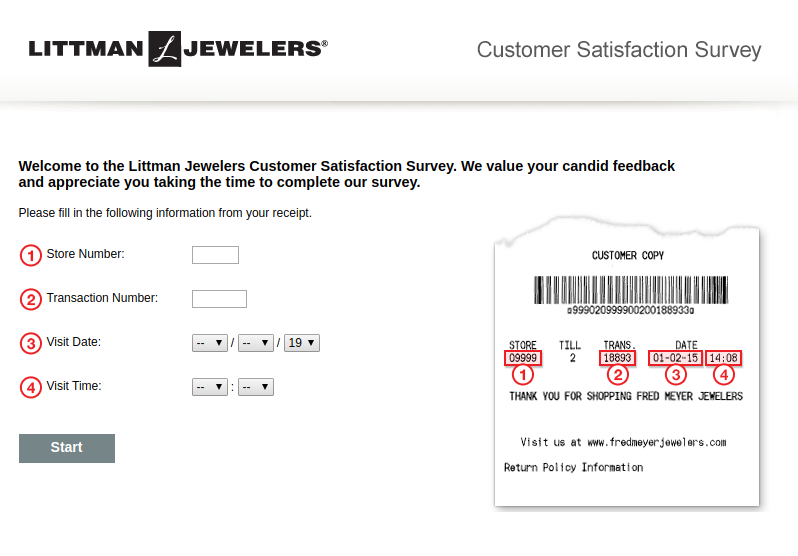 Steps for Completing the Littman Jewelers Customer Experience Survey