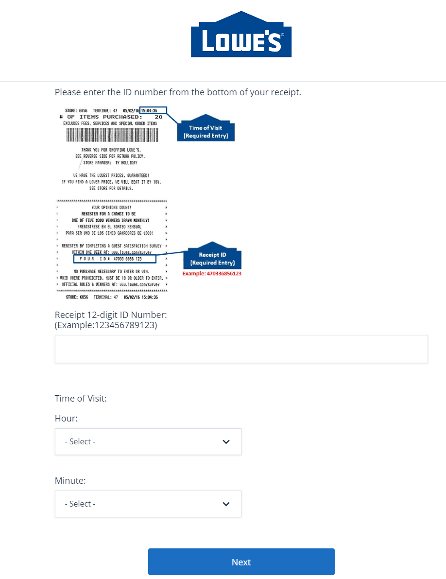Follow below Steps to Complete the Lowe's Survey - Win $500 Gift Card