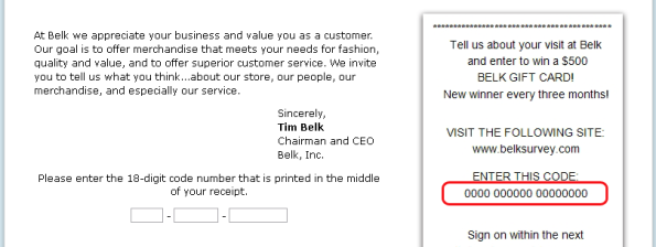 Steps for Completing the Belk Customer Feedback Survey