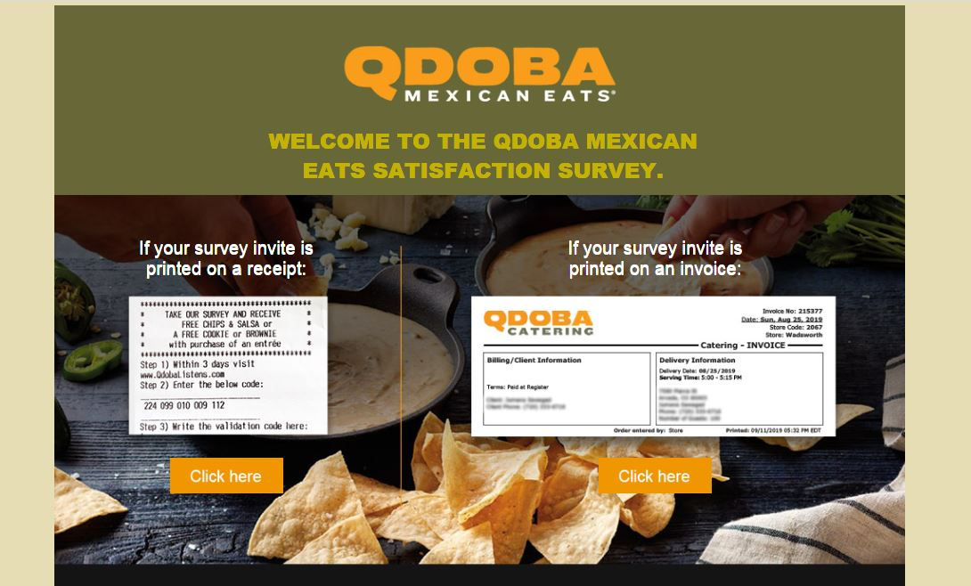 Steps for Completing the TellQdoba Customer Experience Survey